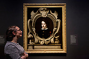 UNITED KINGDOM, London: 27 February 2018 A visitor takes a close look at Bartolom&eacute; Esteban Murillo's &lsquo;Portrait of Count Diego Ortiz de Z&uacute;&ntilde;iga&rsquo; (about 1655) at the new exhibition entitled 'Murillo: The Self Portraits' at The National Gallery in London this morning. <br /> The exhibition marks the 400th anniversary of one of the most celebrated Spanish artists. <br /> Rick Findler  / Story Picture Agency