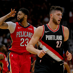Apr 21, 2018; New Orleans, LA, USA; New Orleans Pelicans forward Anthony Davis (23) celebrates after a three point basket against the Portland Trail Blazers during the second half in game four of the first round of the 2018 NBA Playoffs at the Smoothie King Center. Mandatory Credit: Derick E. Hingle-USA TODAY Sports