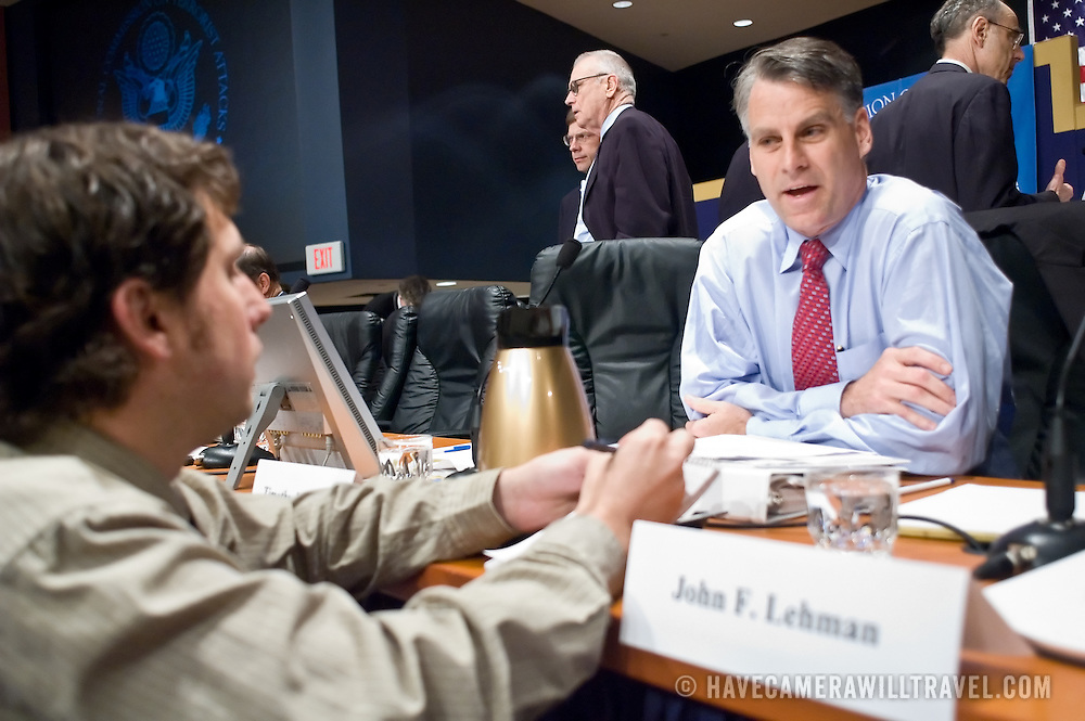 "Timothy Roemer speaks with a reporter during a break between panels. The 9/11 Commission's 12th public hearing on ""The 9/11 Plot"" and ""National Crisis Management"" was held June 16-17, 2004, in Washington, DC."