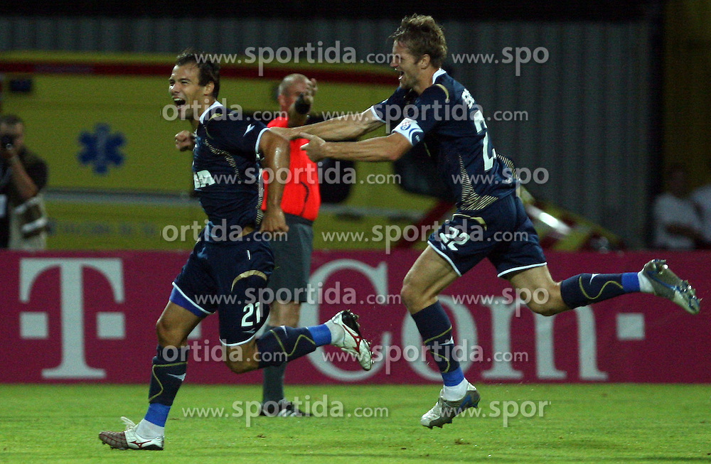 Ivica Urdoljak and Igor Biscan celebrating the first goal at 1st football game of 2nd Qualifying Round for UEFA Champions league between NK Domzale vs HNK Dinamo Zagreb, on July 30, 2008, in Domzale, Slovenia. Dinamo won 3:0. (Photo by Vid Ponikvar / Sportal Images)