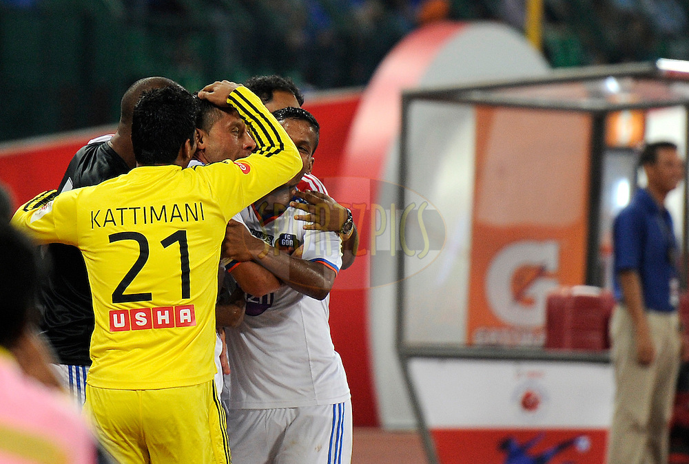 Miroslav Slepicka of FC Goa celebrates a goal with teammates during match 50 of the Hero Indian Super League between Chennaiyin FC and FC Goa held at the Jawaharlal Nehru Stadium, Chennai, India on the 5th December 2014.<br /> <br /> Photo by:  Pal Pillai/ ISL/ SPORTZPICS