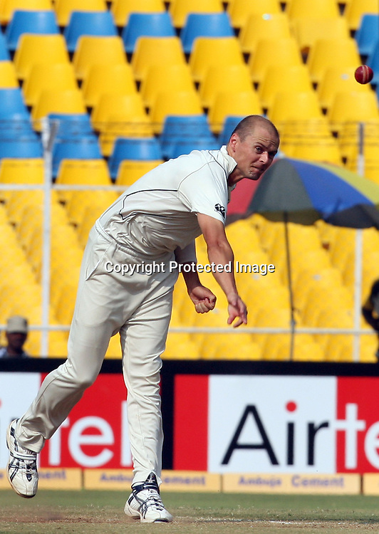 New Zealand Bowler Chris Martin In Bowling Action During The India vs New Zealand 1st Test Match Played at Sardar Patel Stadium, Motera, Ahmedabad 7, November 2010 (5-day match)