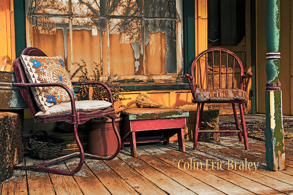 Idaho Ghost Towns-A rustic country porch is an inviting scene in the historic mining town of Idaho City, Idaho.Colin E Braley (Wild West-Media)
