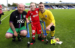 Bristol City Fans players pose for pictures with Oskar Pycroft - Mandatory by-line: Robbie Stephenson/JMP - 04/09/2016 - FOOTBALL - Memorial Stadium - Bristol, England - Bristol Rovers Fans v Bristol City Fans - Bristol Fan Derby