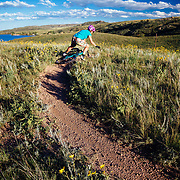Heather Goodrich takes a spill on the loose granite gravel on the Crystal Ridge Trail in Curt Gowdy State Park in Eastern Wyoming.