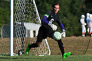 Rice goalie Leland Gazo (0) makes a save during the boys soccer game between the The Burlington Seahorses and the Rice Green Knights at Rice Memorial high School on Tuesday afternoon September 15, 2015 in South Burlington, Vermont. (BRIAN JENKINS/for the FREE PRESS)
