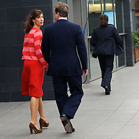 Prime Minister DAVID CAMERON arrives with wife SAMANTHA before addressing delegates in his leader's speech during the Conservatives Party Conference at Manchester Central.