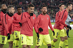 November 28, 2018 - Eindhoven, Netherlands - FC Barcelona players during the UEFA Champions League Group B match between PSV Eindhoven and FC Barcelona at Philips Stadium in Eindhoven, Netherlands on November 28, 2018  (Credit Image: © Andrew Surma/NurPhoto via ZUMA Press)