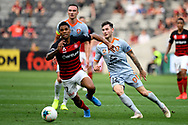 SYDNEY, AUSTRALIA - NOVEMBER 02: Western Sydney Wanderers forward Kwame Yeboah (27) runs for the ball during the round 4 A-League soccer match between Western Sydney Wanderers FC and Brisbane Roar FC on November 02, 2019 at Bankwest Stadium in Sydney, Australia. (Photo by Speed Media/Icon Sportswire)