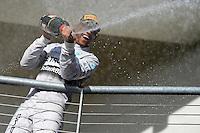 Race winner Lewis Hamilton (GBR) Mercedes AMG F1 celebrates on the podium.<br /> United States Grand Prix, Sunday 2nd November 2014. Circuit of the Americas, Austin, Texas, USA.