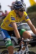 FRANCE, FRIDAY 27th JULY 2007:  Following Mikael Rassmussen's expulsion from the race on Wednesday (25th) night, Discovery Channel's Alberto Contador finally got to wear the maillot jaune on Stage 18, Cahors to Angouleme.