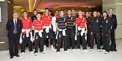 DU?SSELDORF, GERMANY - Tuesday, October 14, 2008: Wales' players at the Swissotel Neuss ahead of the 2010 FIFA World Cup South Africa Qualifying Group 4 match against Germany. L-R: Press officer Ceri Stennett, Carl Robinson, Lewis Price, David Vaughan, Owain Tudur Jones, Gareth Bale, Ashley Williams, Chris Gunter, Craig Morgan, Doctor Mark Ridgewell, David Cotterill, Michael Knight, David Rowe, Mel Pejic, Dean Saunders, Dyfri Owen, Mark Evans. (Photo by David Rawcliffe/Propaganda)