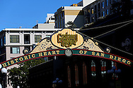 The Gaslamp Quarter sign is displayed in Downtown San Diego, California.