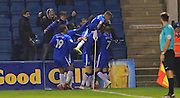 GOAL Jay Emmanuel-Thomas celebrates scoring 2-0 during the EFL Sky Bet League 1 match between Gillingham and Rochdale at the MEMS Priestfield Stadium, Gillingham, England on 26 November 2016. Photo by Daniel Youngs.
