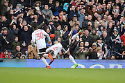 Fulham midfielder Neeskens Kebano (07) celebrating after scoring 3-1 during the EFL Sky Bet Championship match between Fulham and Preston North End at Craven Cottage, London, England on 4 March 2017. Photo by Matthew Redman.