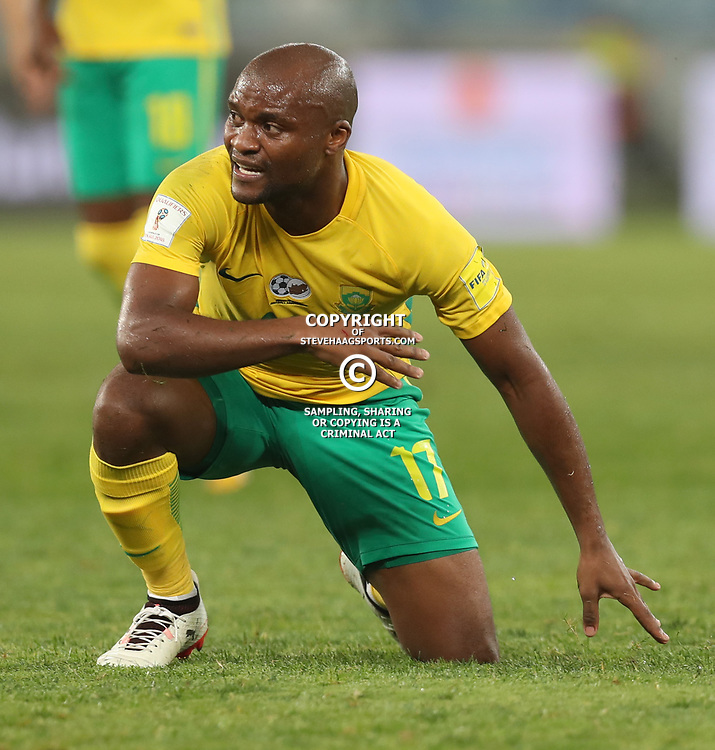 Tokelo Rantie of South Africa (Bafana Bafana) during the 2018 Football World Cup qualifier  match between South Africa (Bafana Bafana)  and Cape Verde Islands,at the Moses Mabhida Stadium in Durban South Africa Tuesday, September 5,2017.  (Photo by Steve Haag)