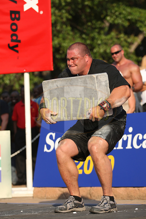 Christian Savoie (Canada) in action during one of the qualifying rounds of the World's Strongest Man competition held in Sun City, South Africa.