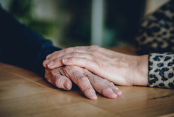 THEMENBILD - eine Hand liegt auf einer Hand einer alten Frau, aufgenommen am 15. Februar 2020 in Kaprun, Oesterreich // a hand rests on an old woman's hand, in Kaprun, Austria on 2020/02/15. EXPA Pictures © 2020, PhotoCredit: EXPA/Stefanie Oberhauser