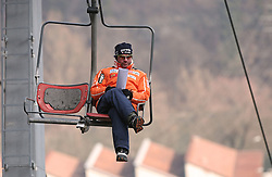 Coach of joung jumpers Primoz Triplat at Slovenian National Championship in Ski Jumping on February 12, 2008 in Kranj, Slovenia . (Photo by Vid Ponikvar / Sportal Images).