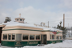 """Truckee Jax Diner 1"" - This photograph of a snow covered Jax Diner was shot in the early morning in Downtown Truckee, California."