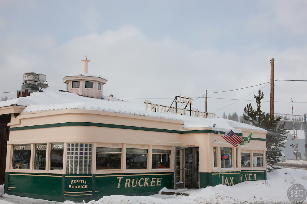 """""""Truckee Jax Diner 1"""" - This photograph of a snow covered Jax Diner was shot in the early morning in Downtown Truckee, California."""
