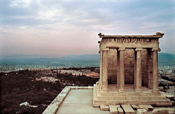 Griekenland, Athene, 15-9-2000..Zicht,uitzicht, gezicht bij ondergaande zon op de stad vanaf de Acropolis...Foto: Flip Franssen