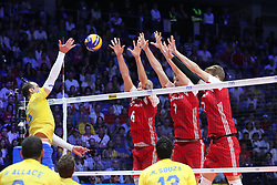 September 30, 2018 - Turin, Piedmont, Italy - A moment of the final match between Brazil and Poland for the FIVB Men's World Championship 2018 at Pala Alpitour in Turin, Italy, on 30 September 2018. Poland won 3: 0 and it is confirmed world champion. (Credit Image: © Massimiliano Ferraro/NurPhoto/ZUMA Press)