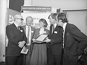 Typist Of The Year.1983.17.11.1983.11.17.1983.17th november 1983..Ms Paula Sommers won the award of Typist Of The Year which was jointly sponsored by The Irish Times and B & I Lines..Photograph of Ms Paula Sommers being congratulated on her success by,from Left,Mr Peter Coffey,B&I lines,Mr Eddie Kelly, Dept of Education, Mr Des Bury,Irish Times and Mr David Dillon,I.D.L..