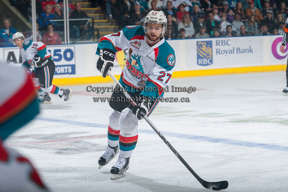 KELOWNA, CANADA - MAY 13: Josh Morrissey #27 of Kelowna Rockets passes the puck against the Brandon Wheat Kings on May 13, 2015 during game 4 of the WHL final series at Prospera Place in Kelowna, British Columbia, Canada.  (Photo by Marissa Baecker/Shoot the Breeze)  *** Local Caption *** Josh Morrissey;