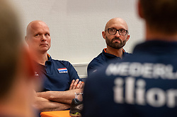 14-05-2019 NED: Press moment national volleyball team Women, Arnhem<br /> Jamie Morrison, the national coach of the Dutch women team, gives an overview of the group matches of the VNL, the OKT, Worldcup and the European Championship played in Hungary / Coach Jamie Morrison of Netherlands, Ass coach Marko Klok of Netherlands