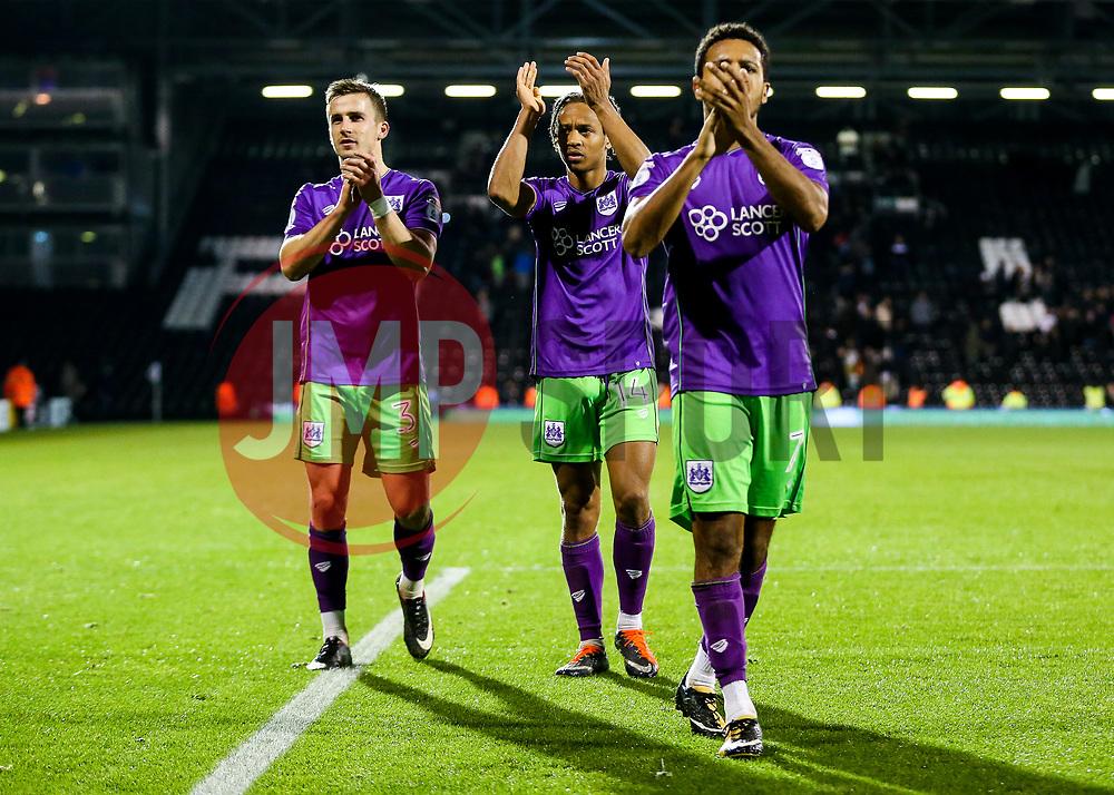 Joe Bryan and Bobby Reid of Bristol City celebrate after a 0-2 win - Rogan/JMP - 31/10/2017 - Craven Cottage - London, England - Fulham FC v Bristol City - Sky Bet Championship.