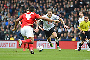 Derby County midfielder Jeff Hendrick closing in on the ball during the Sky Bet Championship match between Derby County and Nottingham Forest at the iPro Stadium, Derby, England on 19 March 2016. Photo by Jon Hobley.