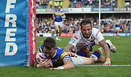 Richie Myler of Leeds Rhinos scores the try against Hull Kingston Rovers during the Super 8s the Qualifiers match at Emerald Headingley  Stadium, Leeds<br /> Picture by Stephen Gaunt/Focus Images Ltd +447904 833202<br /> 01/09/2018