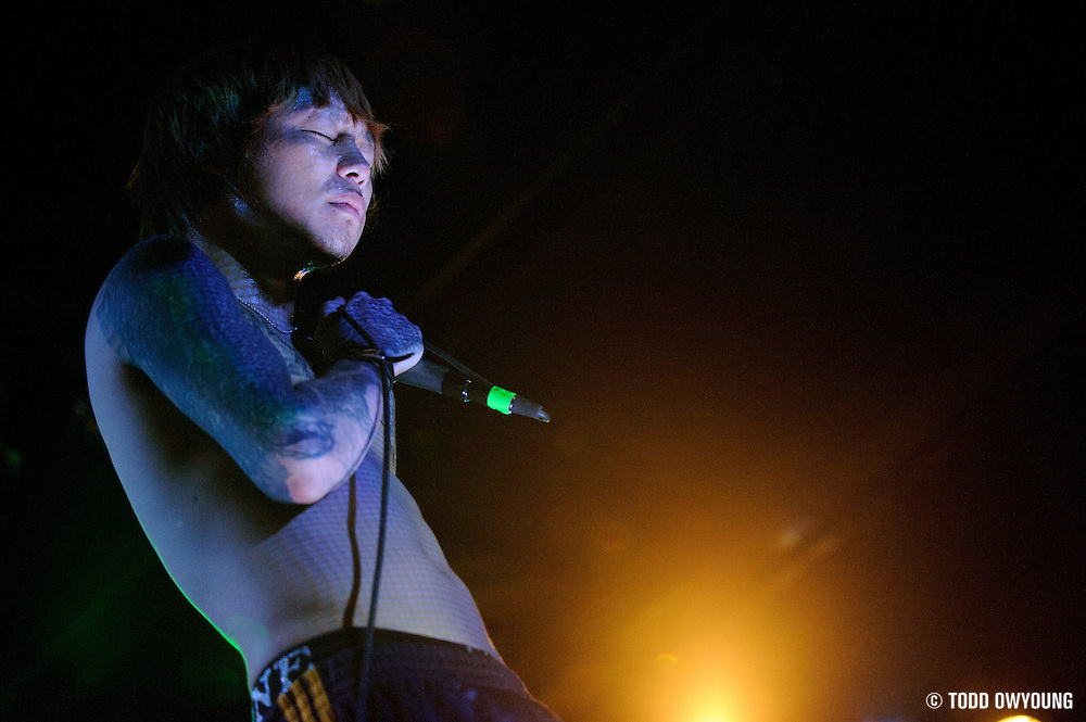 Photos of Dir en grey performing in 2008 on their US tour.
