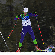 Winter Olympics, Vancouver, 2010.Teja Gregorin, Slovenia, finishing in ninth place during the Women's 7.5 KM Sprint Biathlon at The Whistler Olympic Park, Whistler, during the Vancouver  Winter Olympics. 13th February 2010. Photo Tim Clayton