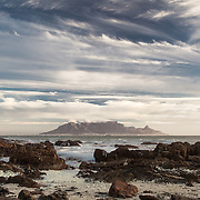 Table Mountain, Cape Town, profile from across Table Bay harbour