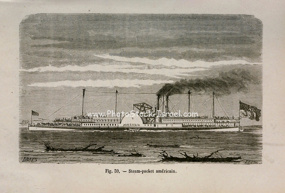 19th century Woodcut print on paper of a steam riverboat from L'art Naval by Leon Renard, Published in 1881