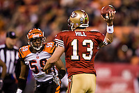15 December 2007: Quarterback Shaun Hill of the San Francisco 49ers passes the ball against the Cincinnati Bengals during the first half of the 49ers 20-13 victory over the Bengals at Monster Park in San Francisco.