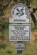 National Trust sign, Dovedale, Peak District national park, Derbyshire, England