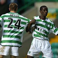 Celtic v St Johnstone..  23.02.03<br />Ex St Johnstone player Momo Sylla<br /><br />Pic by Graeme Hart<br />Copyright Perthshire Picture Agency<br />Tel: 01738 623350 / 07990 594431