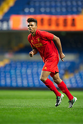 LONDON, ENGLAND - Friday, April 19, 2013: Liverpool's Jerome Sinclair in action against Chelsea during the FA Youth Cup Semi-Final 2nd Leg match at Stamford Bridge. (Pic by David Rawcliffe/Propaganda)