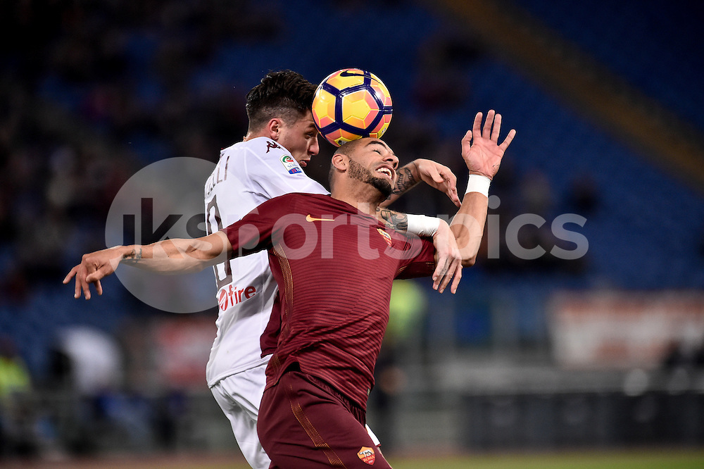 Bruno Peres of AS Roma and Daniele Baselli of Torino fight for the ball during the Serie A match between Roma and Torino at Stadio Olimpico, Rome, Italy on 19 February 2017. Photo by Giuseppe Maffia.