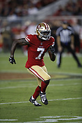 San Francisco 49ers wide receiver Steven Dunbar (7) in action during the 2018 NFL preseason week 4 football game against the Los Angeles Chargers on Thursday, Aug. 30, 2018 in Santa Clara, Calif. The Chargers won the game 23-21. (©Paul Anthony Spinelli)