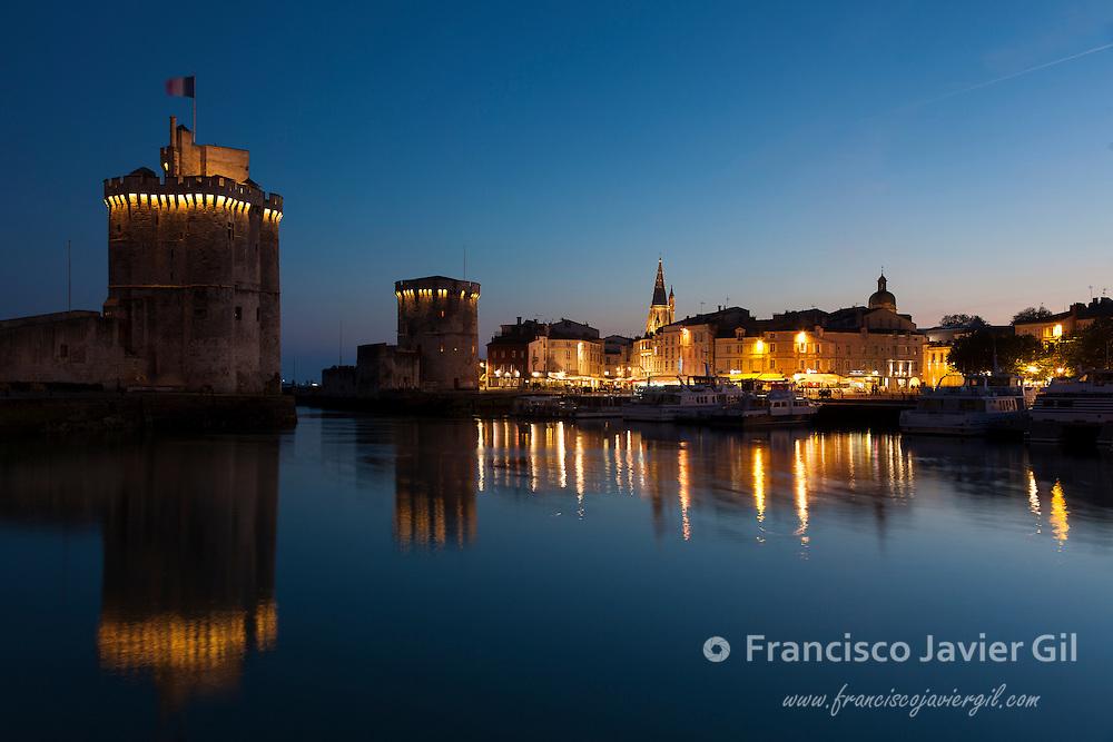 St. Nicholas and La Chaine towers,  La Rochelle, Charente-Maritime, France