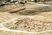 Israel, West Bank, Judaea, Herodion a castle fortress built by King Herod 20 B.C.E. The water pool in the lower city