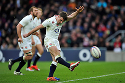 George Ford of England kicks for the posts - Photo mandatory by-line: Patrick Khachfe/JMP - Mobile: 07966 386802 14/02/2015 - SPORT - RUGBY UNION - London - Twickenham Stadium - England v Italy - Six Nations Championship