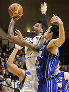 Nuggets' BJ Anthony in action as Saints' Arthur Trousdell defends during the 2013 NBL season - Wellington Saints v OceanaGold Nuggets, TSB Bank Arena, Wellington, New Zealand, Tuesday 28 May 2013. Photo: Justin Arthur / photosport.co.nz