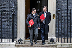 © Licensed to London News Pictures. 29/01/2019. London, UK. Secretary of State for Housing, Communities and Local Government James Brokenshire (L) and Secretary of State for Culture, Media and Sport Jeremy Wright QC (R) leave 10 Downing Street after the Cabinet meeting, as Brexit negotiations continue. MPs will vote on a series of amendments this evening. Photo credit: Rob Pinney/LNP
