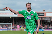 Jordan White (Wrexham AFC) scores again, to get his second of the game and put Wrexham back into the lead. 2-1 to the visitors during the Vanarama National League match between York City and Wrexham FC at Bootham Crescent, York, England on 17 April 2017. Photo by Mark P Doherty.