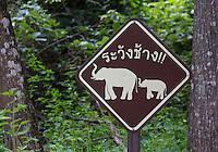 Roadside sign warning Elephants are found in the area, Huai Kha Khaeng Wildlife Sanctuary, Thailand